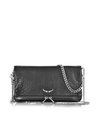 Zadig And Voltaire Rock Bubble Leather Clutch W Chain Strap Black