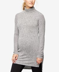 A Pea In The Pod Maternity Mock Neck Ribbed Tunic Grey