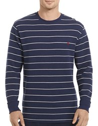 Polo Ralph Lauren Waffle Knit Striped Crewneck Pullover Cruise Navy