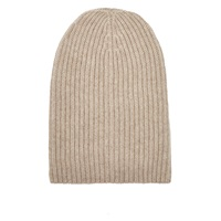 Barneys New York English Rib Knit Beanie Beige Tan