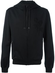 Dolce And Gabbana Embroidered Rose Hooded Jacket Black