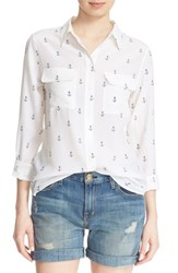 Women's Equipment 'Slim Signature' Anchor Print Silk Shirt