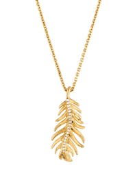 Mimi So Phoenix 18K Yellow Gold Diamond Feather Pendant Necklace Small