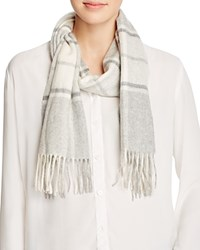 Bloomingdale's C By Cashmere Plaid Scarf Pale Gray Ivory Sand