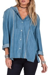 Volcom Women's Among Us Chambray Button Front Hoodie