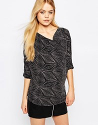 Ichi Lui Abstract Print Top Black
