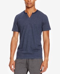 Kenneth Cole Reaction Men's Split Neck Striped Eyelet T Shirt Indigo