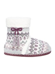 Totes Fairisle Boot Slipper Grey