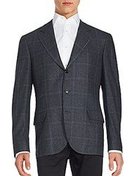 Brunello Cucinelli Plaid Wool Blend Sportcoat Anthracite