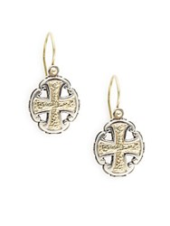 Konstantino Silver And Gold Classics 18K Gold And Sterling Silver Cross Drop Earrings No Color