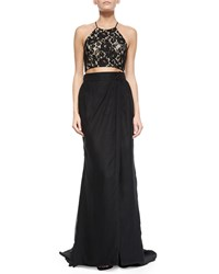 Aidan Mattox Lace Halter Crop Top Black Nude