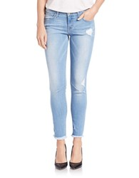Flying Monkey Light Wash Frayed Hem Ankle Jeans