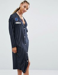 Pull And Bear Pullandbear Varsity Stripe Dress With Badges Navy Blue