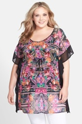 City Chic 'Queen Kaftan' Print Drawstring Waist Tunic Plus Size Pink
