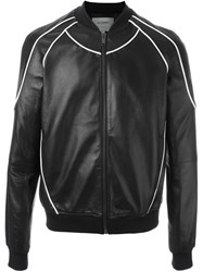 Les Hommes Piped Detail Bomber Jacket Black