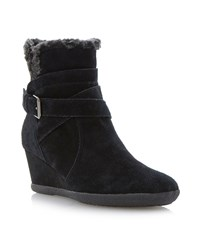 Geox Amelia Stivali Wedge Buckle Ankle Boots Black Suede