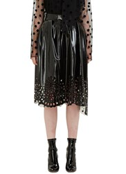 Marc Jacobs Patent Laser Cut Broderie Anglaise Skirt Black
