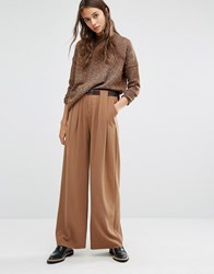 Paisie Wide Leg Trousers With Folded Detail And Leather Belt Camel Tan