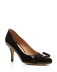 Salvatore Ferragamo Pumps Carla Bow Kitten Heel Nero Gold