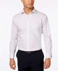 Tasso Elba Men's Burgandy Texture Stripe French Cuff Dress Shirt Only At Macy's