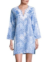 Oscar De La Renta Printed Cotton Sateen Sleepshirt Blueprint
