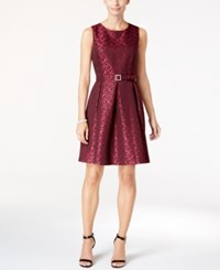 Nine West Belted Jacquard Fit And Flare Dress Dark Pink