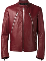 Maison Martin Margiela Zip Detail Biker Jacket Red