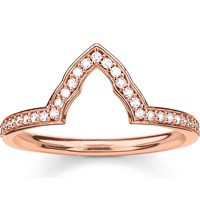 Thomas Sabo Fatima's Garden Rose Gold Plated And Zirconia Pave Temple Stacking Ring