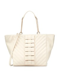 Betsey Johnson Black Tie Affair Quilted Bow Tote Bag Cream Ivory