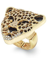 Thalia Sodi Black Crystal Jaguar Stretch Ring Only At Macy's Gold