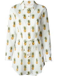 Tory Burch Belted Pineapple Print Shirt White
