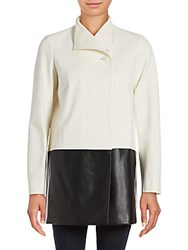 Lafayette 148 New York Valina Two Tone Long Sleeve Coat Winter White