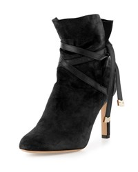 Jimmy Choo Dalal Suede Ankle Wrap Boot Black White