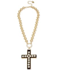 Betsey Johnson Gold Tone Large Crystal Wood Look Cross Pendant Necklace