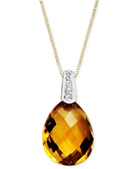 Macy's 14K Gold Necklace Citrine 4 3 4 Ct. T.W. And Diamond Accent Pear Brio Drop Pendant Orange