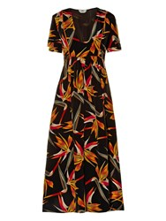Fendi Bird Of Paradise Print Silk Midi Dress