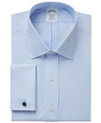 Brooks Brothers Slim Fit Non Iron Solid French Cuff Dress Shirt Light Blue