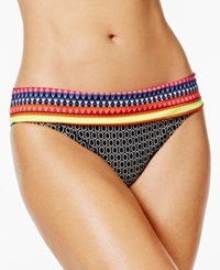 Jag Chromatic Printed Retro Hipster Bikini Bottoms Women's Swimsuit Black