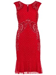 Gina Bacconi Beaded Dress With Frill Hem Red