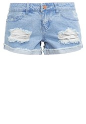 Noisy May Nmfran Denim Shorts Light Blue Denim