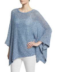 Neiman Marcus Cashmere Collection Linen Open Weave Poncho White Navy