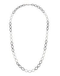 Armenta New World Large Silver Oval Link Necklace 38'L
