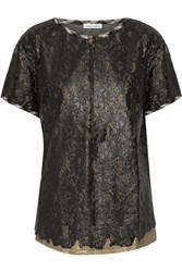 Tomas Maier Layered Metallic Coated Cotton Lace Top Black