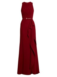 Elie Saab Fluted Panel Cady Gown Red