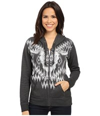 Rock And Roll Cowgirl Long Sleeve Knit Hooded 48Z5036 Charcoal Women's Sweatshirt Gray
