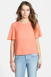 Frenchi Back Keyhole High Low Tee Juniors Orange