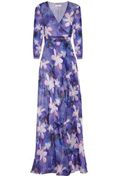 Matthew Williamson Printed Silk Chiffon Wrap Gown Purple