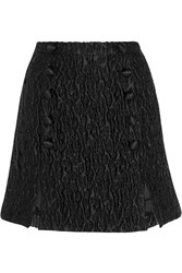 Carven Matelasse Satin Mini Skirt Black