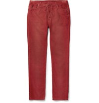 Maison Martin Margiela Slim Fit Corduroy Trousers Red