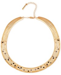T Tahari Gold Tone Scattered Crystal Grid Collar Necklace
